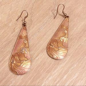Jewelry - Gypsy Pink Gold Rose Teardrop Earrings